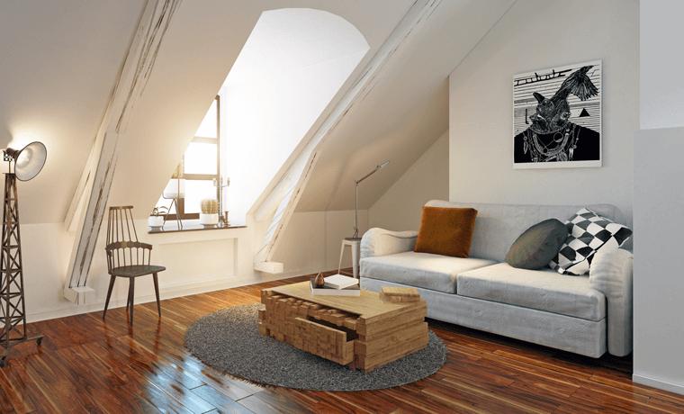 Wohnbereich auf dem Dachboden